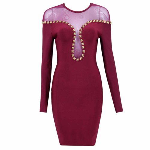 Studded Mesh Neck Bandage Dress K16816