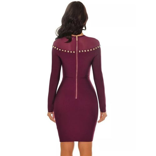 Studded Mesh Neck Bandage Dress K16817