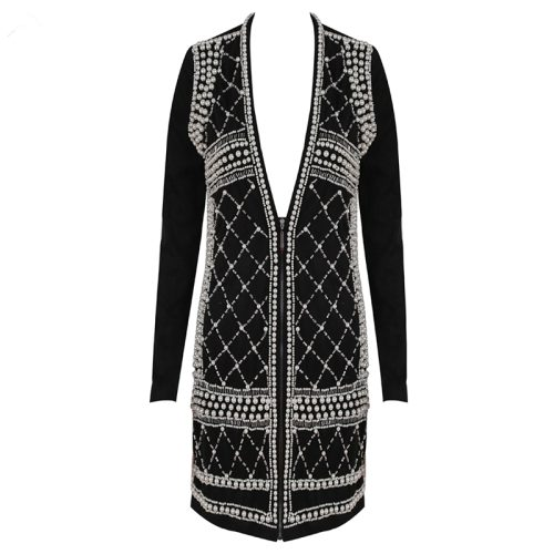 Bead Long Sleeve Zipper bodycon Dress K177 8