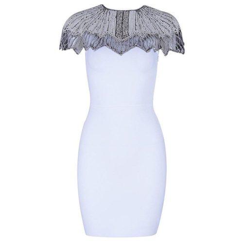 Bead Shoulder Bandage Dress K17619