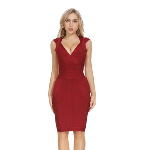 Wine Red Ribbed Cap Sleeve Bandage Dress K179