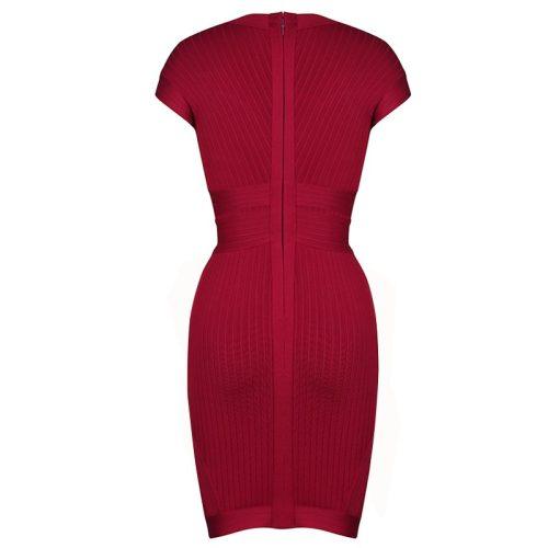 Wine Red Ribbed Cap Sleeve Bandage Dress K17911