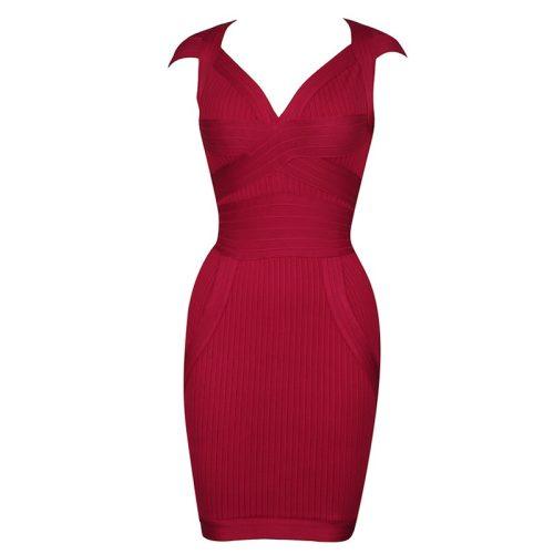 Wine Red Ribbed Cap Sleeve Bandage Dress K1799