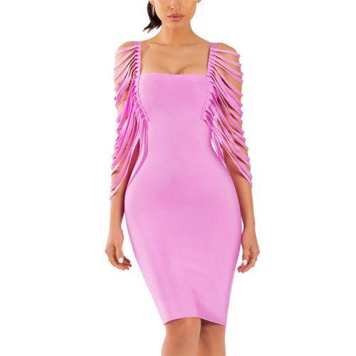 Pink Line Sleeve Strapless Bandage Dress K194 1