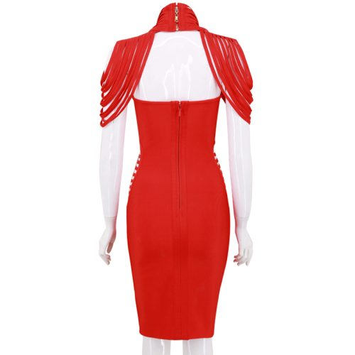 Strapless Hollow Out Halter Cap Sleeve Bandage Dress K187 3