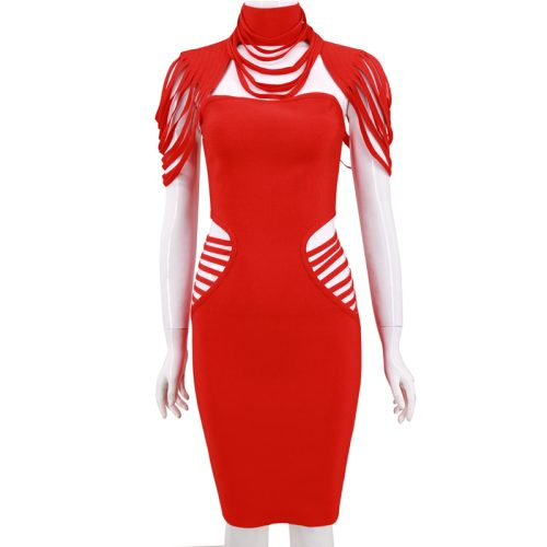Strapless Hollow Out Halter Cap Sleeve Bandage Dress K187 9
