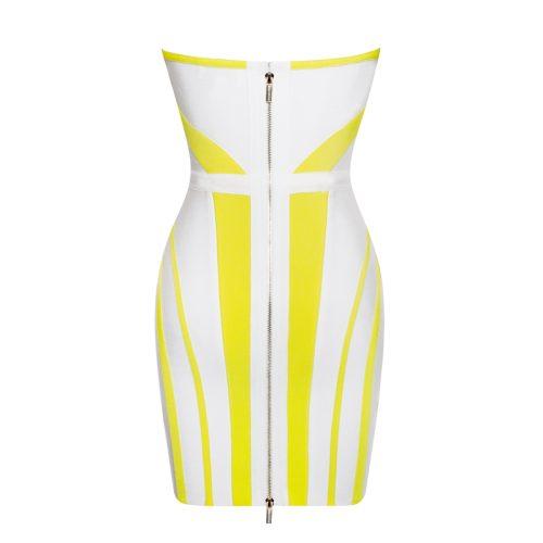Strapless Yellow Stripe Bandage Dress K190 1