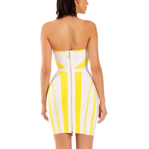 Strapless Yellow Stripe Bandage Dress K190 4