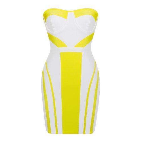 Strapless Yellow Stripe Bandage Dress K190 7