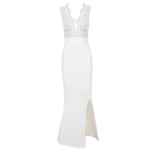 V Neck Lace Split Maxi Bandage Dress K18235