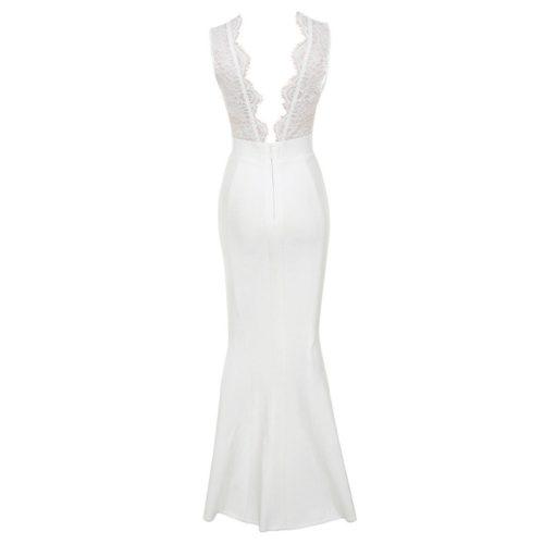 V Neck Lace Split Maxi Bandage Dress K18237