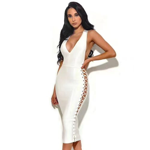 Deep V Starp Backless Lace Up Bandage Dress K202 15