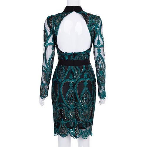 Green Mesh Sequin Backless Bodycon Dress K197 3