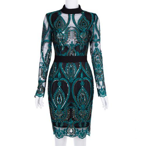 Green Mesh Sequin Backless Bodycon Dress K197 4