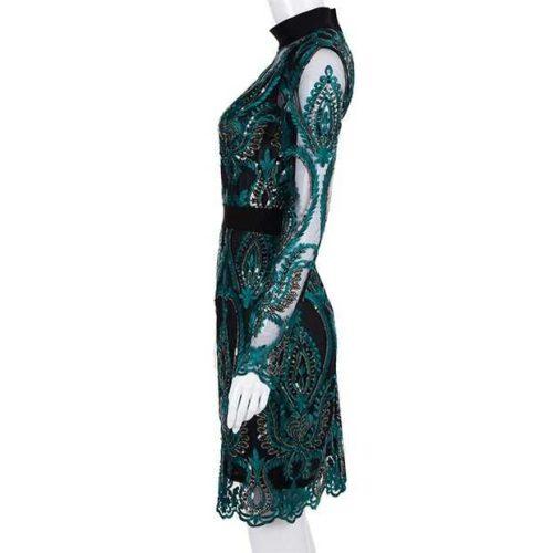 Green Mesh Sequin Backless Bodycon Dress K197 5