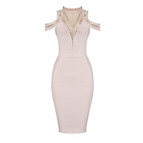Off The Shoulder Studded V Neck Bandage Dress K205 71