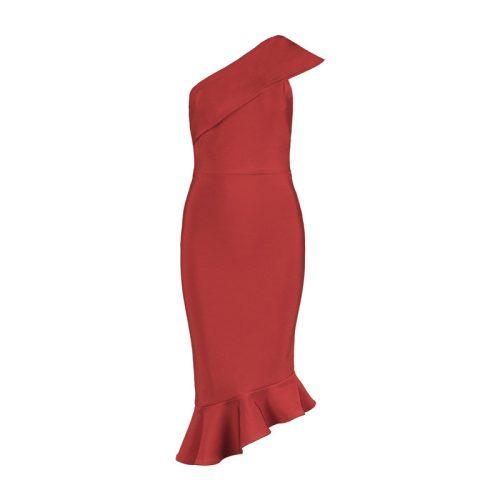 One Shoulder Sleeveless Floucing Bandage Dress K212 9