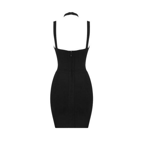 Halter Neck Strap White Area Chest Bandage Dress K222 20