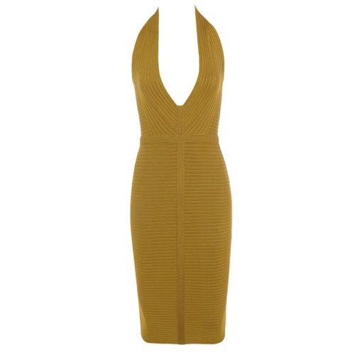 Olive Fold Halter Deep V Backless Bandage Dress K223 11