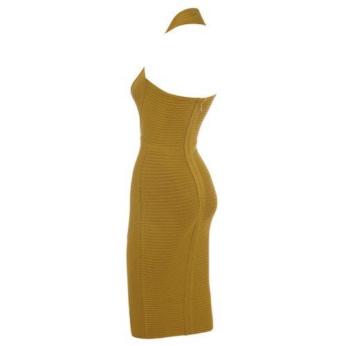 Olive Fold Halter Deep V Backless Bandage Dress K223 12