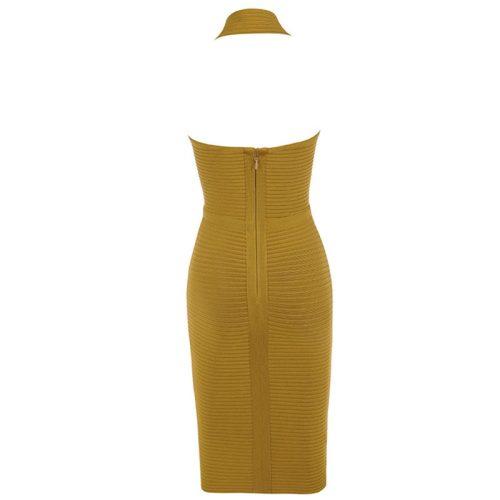 Olive Fold Halter Deep V Backless Bandage Dress K223 9