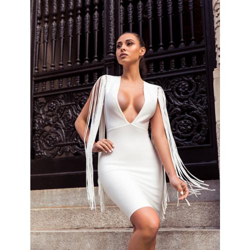 White Tassel Sleeve V Neck Bandage Dress K220 1