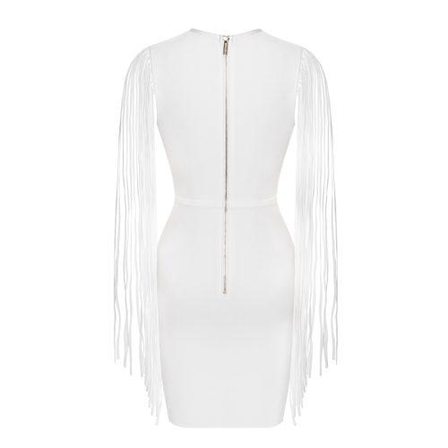 White Tassel Sleeve V Neck Bandage Dress K220 2