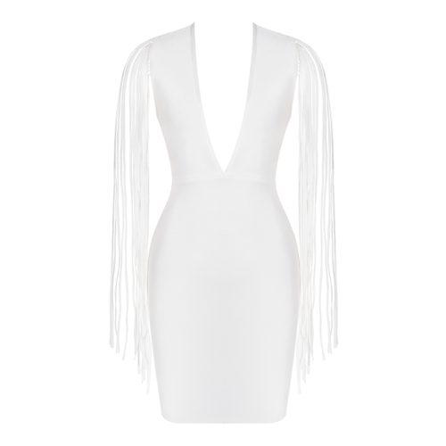 White Tassel Sleeve V Neck Bandage Dress K220 6