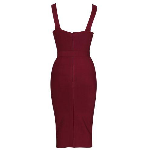 Wine Red Strap Girdling Bandage Dress K21511