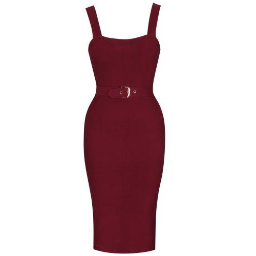 Wine Red Strap Girdling Bandage Dress K21512