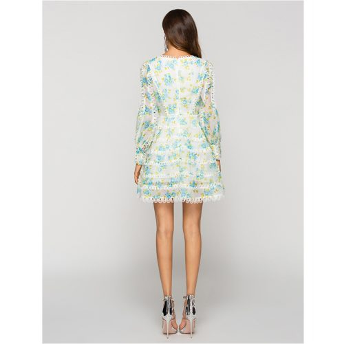 Floral Palace Lantern Sleeve Dress Slim Sexy v neck Printed Cake Skirt K234 21