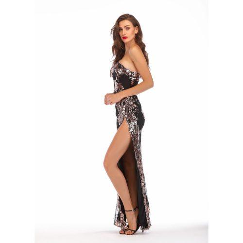One Shoulder Split Sequin Maxi Dress K23028