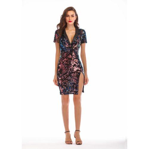 Pleated Neckline Short Sleeve Spilt Sequin Dress K237 1
