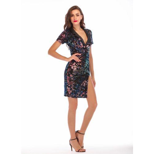 Pleated Neckline Short Sleeve Spilt Sequin Dress K237 2