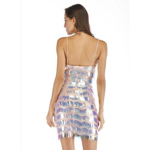 Sequin Strap V Neck Halter Mini Dress K236 3