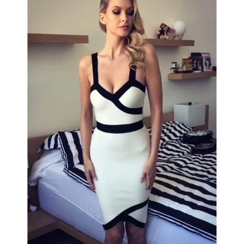 Black Stripe White Bandage Strap Dress K242 1