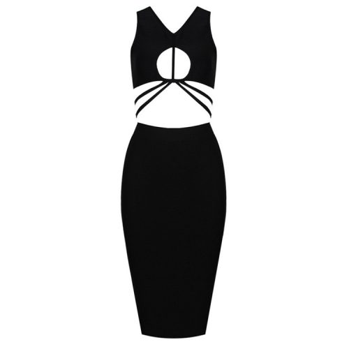 Bust Hollow Out Bandage Dress Two Piece Set K238 2