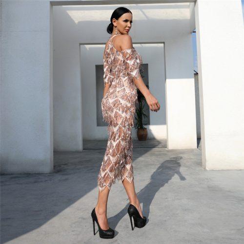 Mesh Sequin Off The Shoulder Dress K239 2