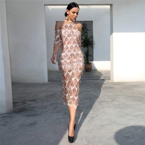 Mesh Sequin Off The Shoulder Dress K239 4