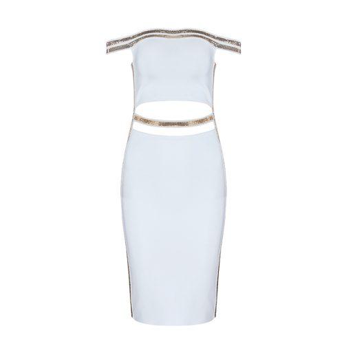Sequin Waist Off The Shoulder Bandage Dress K240 12