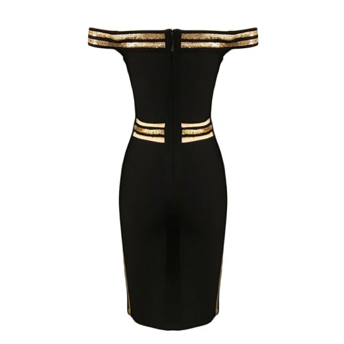 Sequin Waist Off The Shoulder Bandage Dress K240 13