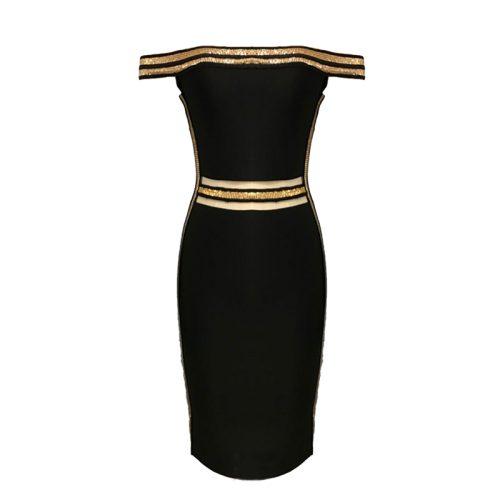 Sequin Waist Off The Shoulder Bandage Dress K240 15