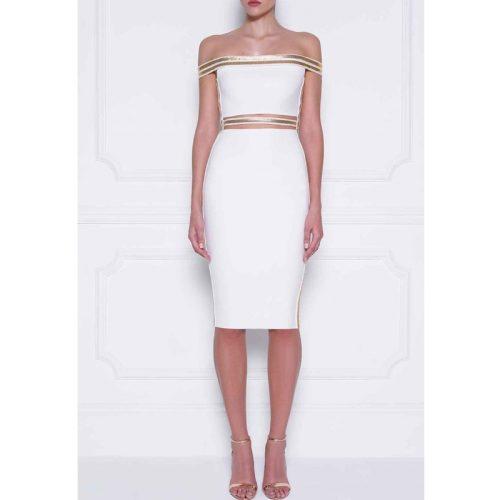 Sequin Waist Off The Shoulder Bandage Dress K240 5
