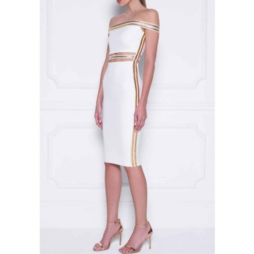 Sequin Waist Off The Shoulder Bandage Dress K240 6