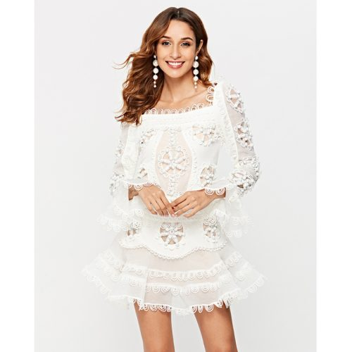 Luxury Embroidered Lace Fishtail Horn Sleeve Dress K249 2