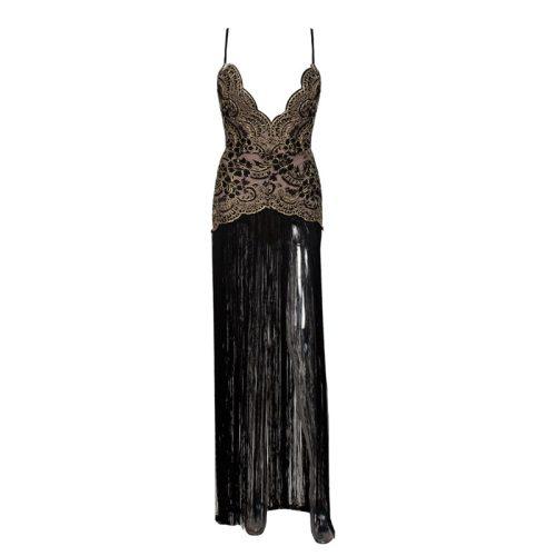 Sexy Embroider Strap Tassel Floor Length Dress K248 11