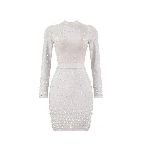 Bright Silk Bandage Pearl Studded Dress K250 10
