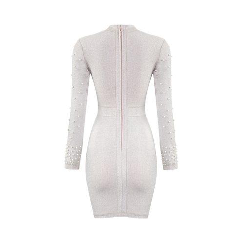 Bright Silk Bandage Pearl Studded Dress K250 13