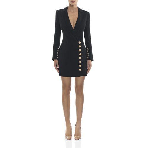 Deep V Gold Buttons Blazer Mini Dress K276 3
