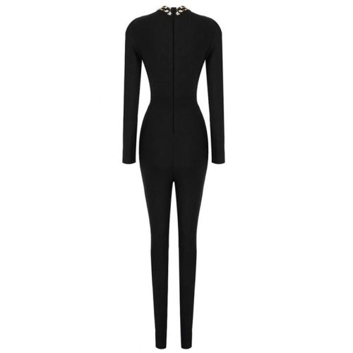 Hollow Out Beadded Neck Bandage Jumpsuit K282 6